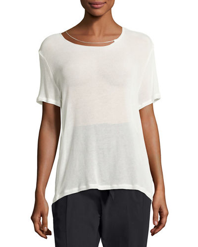 Iro Rikke Short-Sleeve Jersey Top w/ Chain