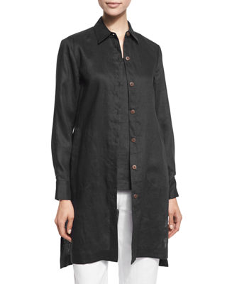 Image 1 of 2: Long-Sleeve Linen Duster