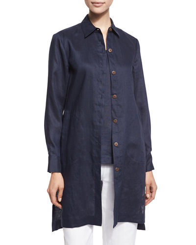 Long-Sleeve Linen Duster, Petite