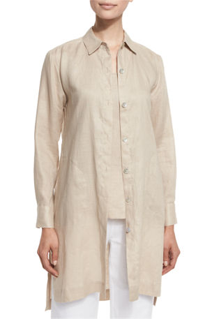 Go Silk Plus Size Long-Sleeve Linen Duster Coat