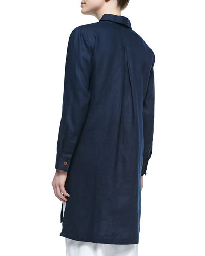 Plus Size Long-Sleeve Linen Duster Coat