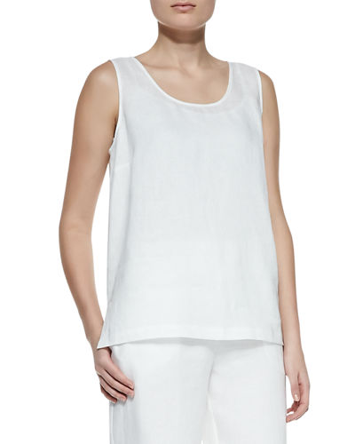 Plus Size Linen Scoop-Neck Tank