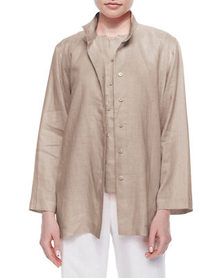 Go Silk Linen Button-Front Jacket, Plus Size