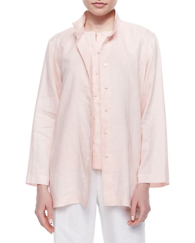 Go Silk Linen Button-Front Jacket, Linen Button-Front Shell