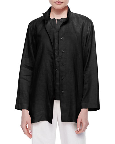 Go Silk Petite Linen Button-Front Jacket