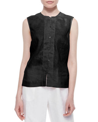 GO SILK Linen Button-Front Shell, Plus Size in Black