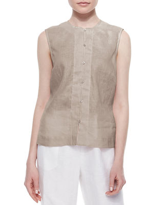 GO SILK Linen Button-Front Shell, Plus Size in Sesame