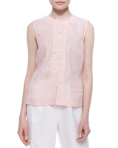 Go Silk Linen Button-Front Shell, Petite