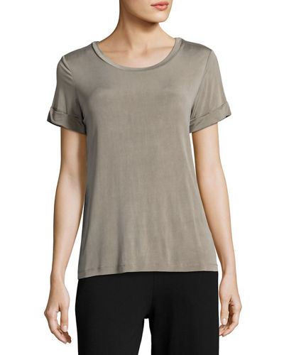 Majestic Paris for Neiman Marcus Short-Sleeve Cupro-Blend Tee