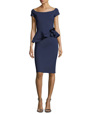 LA PETITE ROBE DI CHIARA BONI Lady Cap-Sleeve Peplum Cocktail Dress in Navy