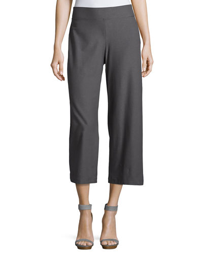 Wide-Leg Washable-Crepe Cropped Pants