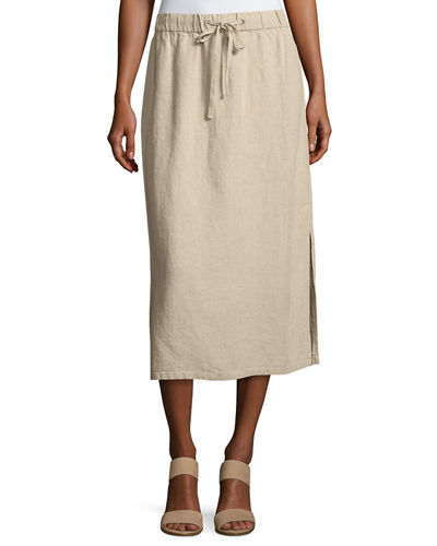 Eileen Fisher Heavy Organic Linen Midi Skirt and