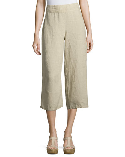Eileen Fisher Linen Cropped Wide-Leg Pants, Petite