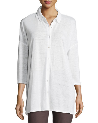 Eileen Fisher 3/4-Sleeve Organic Linen Jersey Tunic, Plus
