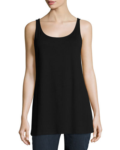 Eileen Fisher Sleeveless Scoop-Neck Lightweight Jersey Tank, Plus