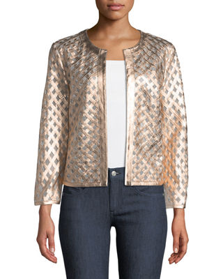 Leather Grid Jacket
