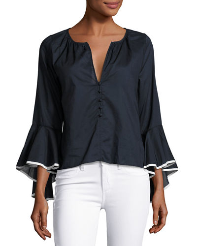 MISA Los Angeles Segall Flared-Sleeve Top