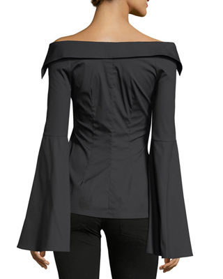 Image 2 of 2: Persephone Bell-Sleeve Button-Front Poplin Blouse
