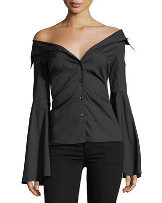 Image 1 of 2: Persephone Bell-Sleeve Button-Front Poplin Blouse