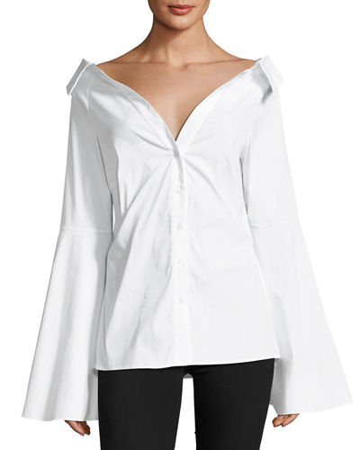 Persephone Bell-Sleeve Button-Front Poplin Blouse