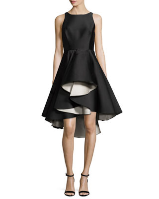 Image 1 of 2: Sleeveless Colorblock Fit-and-Flare Cocktail Dress