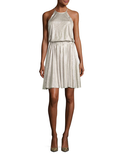 Halston Heritage Metallic Jersey Racerback Cocktail Dress