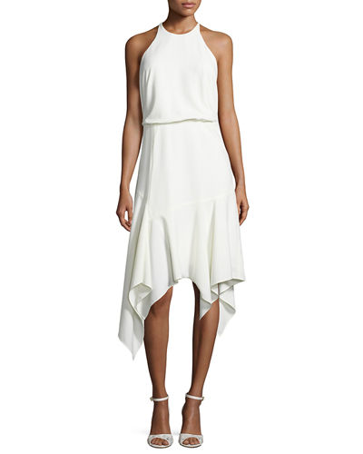 Halston Heritage Sleeveless Stretch Crepe Handkerchief Cocktail