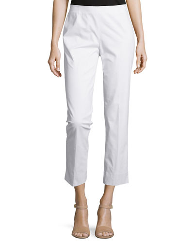 Lafayette 148 New York Straight-Leg Cropped Pants, White