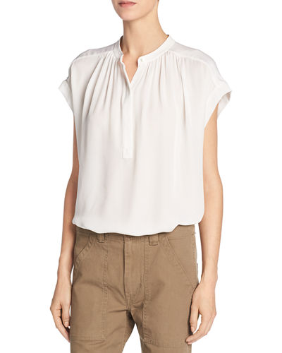 Vince Silk Shirred-Neck Cap-Sleeve Blouse