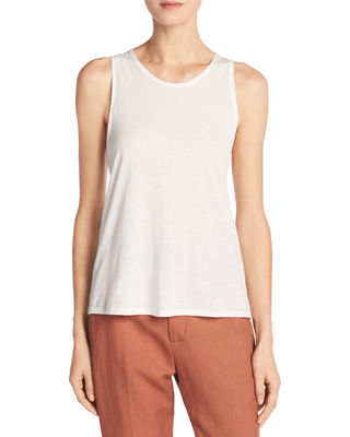 Vince Cotton-Silk Twist-Back Tank Top