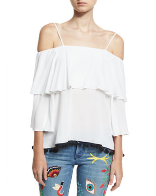 Alice + Olivia Meagan Off-the-Shoulder Pompom-Trim Top