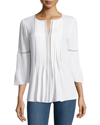 Elie Tahari Orion Bell-Sleeve Silk-Georgette Blouse