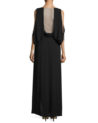 Hetty Cold-Shoulder Silk Evening Gown