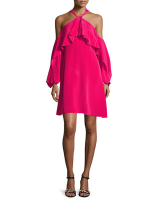 Kobi Halperin Janella Silk Cold-Shoulder Ruffle Cocktail Dress