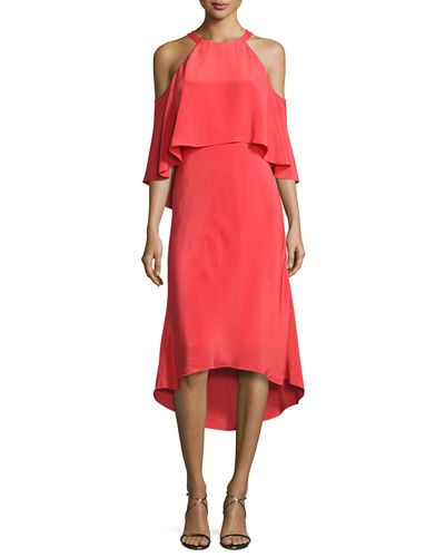 Emelia Cold-Shoulder Silk Cocktail Dress