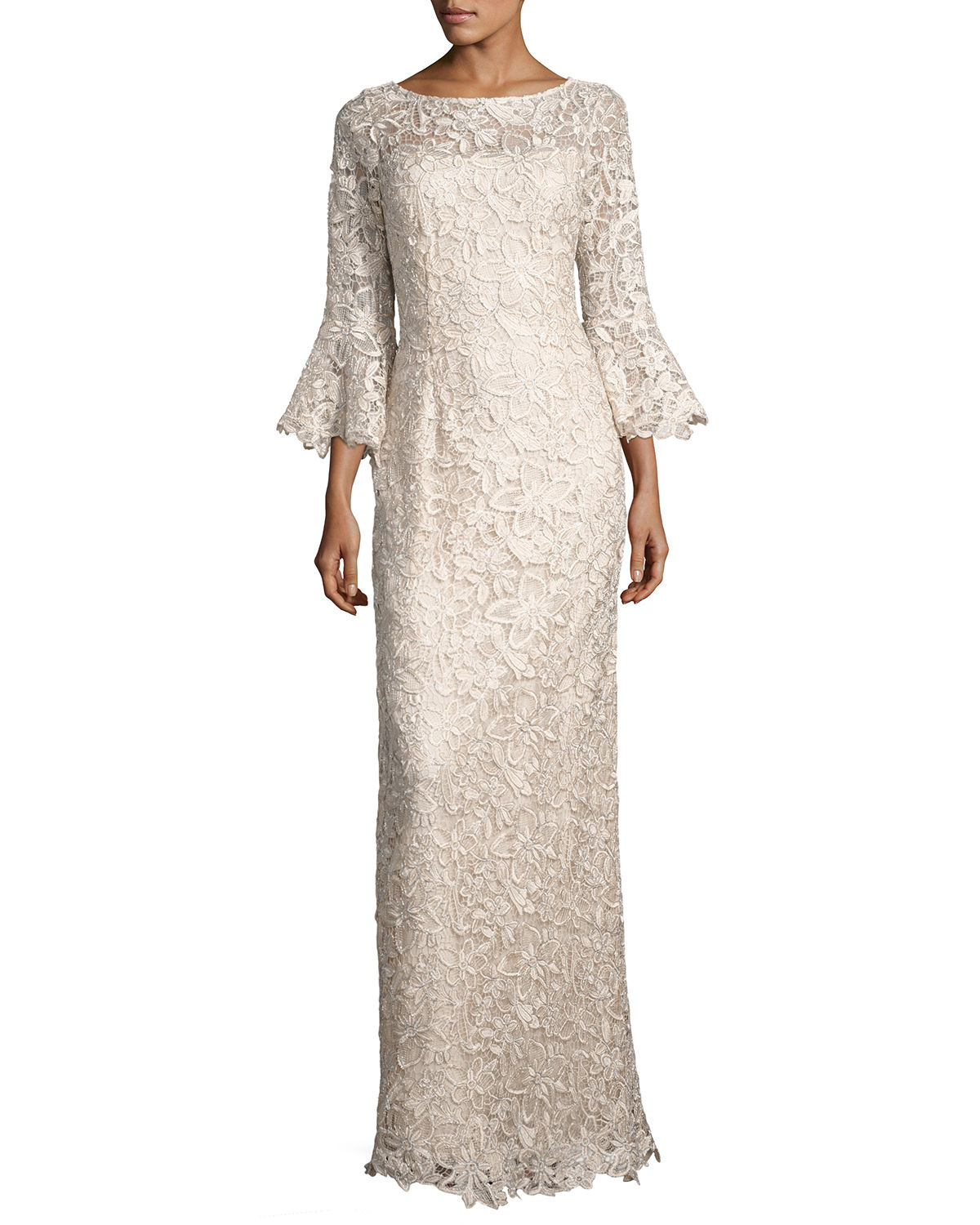 RICKIE FREEMAN FOR TERI JON BELL-SLEEVE FLORAL LACE COLUMN GOWN ...
