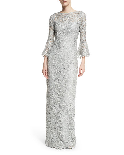 Bell-Sleeve Floral Lace Column Gown