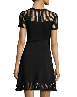 Image 2 of 2: Short-Sleeve Mesh-Combo Dress