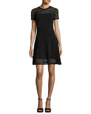 Image 1 of 2: Short-Sleeve Mesh-Combo Dress