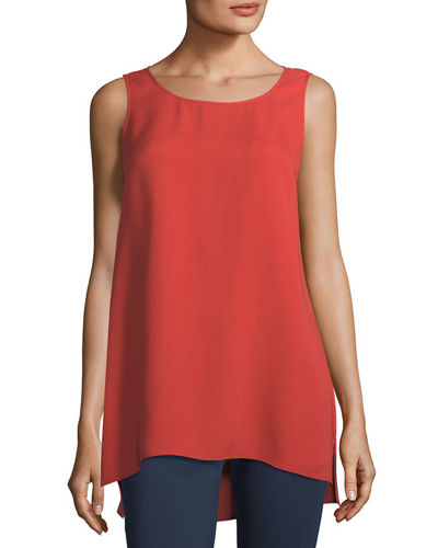 Ruthie Sleeveless High-Low Silk Blouse, Plus Size