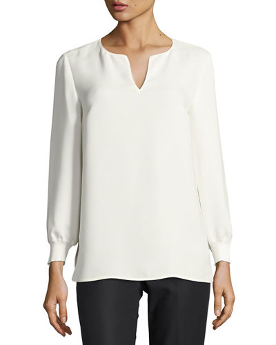 Lafayette 148 New York Ariel Blouse with Knit