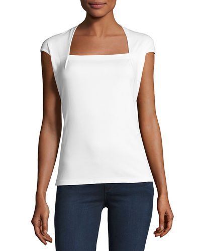 Giada Swiss Cotton Cap-Sleeve Top