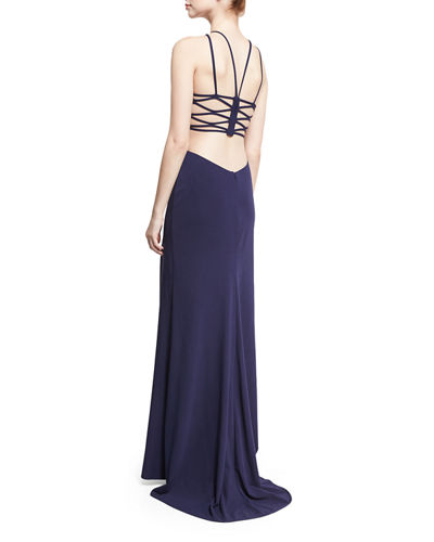 La Femme Sleeveless Crepe Lattice Gown