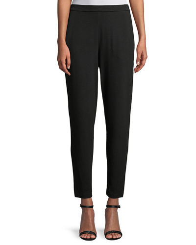 Eileen Fisher Slim Slouchy Ankle Pants, Black, Petite