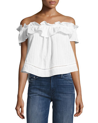 N/NICHOLAS SOFIA COTTON VOILE RUFFLED TOP