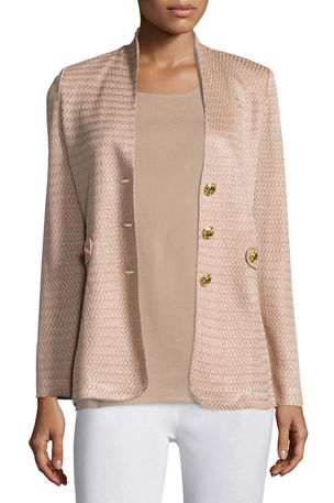 Misook Petite Textured Gold-Button Jacket