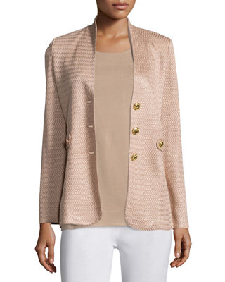 Textured Gold-Button Jacket, Petite