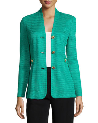 Image 1 of 3: Textured Gold-Button Jacket, Petite