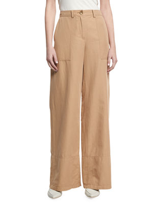 Image 1 of 3: Cotton-Linen Wide-Leg Pants