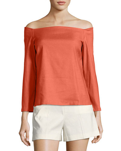Theory Aprine Off-the-Shoulder New Stretch Linen Top